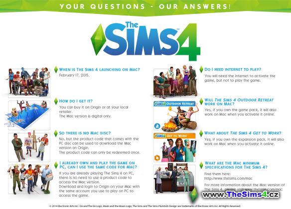 Infografika k vydání The Sims 4 pro Mac v angličtině